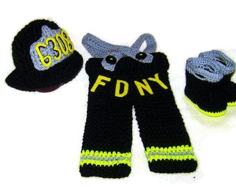 Firefighter Gift - Firefighter Costume - Personalized Firefighter - Newborn Photo Prop - Cute Baby Outfit - Baby Firefighter Outfit