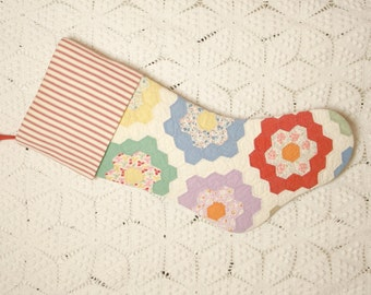 Beautiful Grandmother's Flower Garden Vintage Quilt Heirloom Stocking with Vintage-StyleTicking Cuff