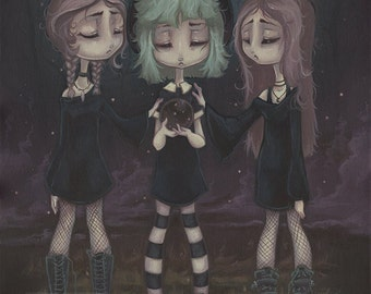 Lowbrow Gothic Witch scrying popsurreal print painting - The Sisters