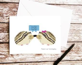 Hedgehog Love Card, Anniversary, For Husband, For Wife, For Girlfriend, For Boyfriend, For Partner, Romantic Gift, Hedgehog Illustration