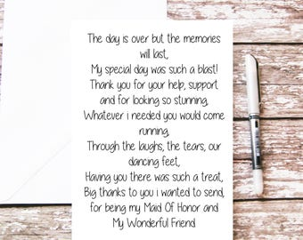 Maid Of Honor Thank You Card, Maid Of Honor Gift, Maid of Honor Poem Card, Wedding Poem, Card For Her, Wedding Party Thanks Best Friend