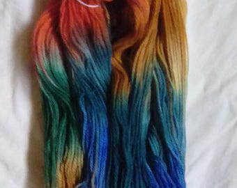 """Hand Dyed 100 % Moreno DK Weight yarn Heavy Metal Free Dyes """"Fall Woods"""" Colorway"""