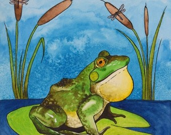Mr. Bullfrog Archival Watercolor Art print, Nursery art print, 8x10, 11x14.