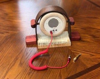 Music player, electric guitar amp and more! Beautiful handmade portable speaker and amp made from Tiger Maple ,Black Walnut and Paduk