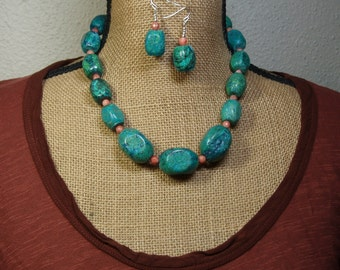 Natural Chrysocolla, Red Net Jasper Gemstone 925 Silver Necklace and Earrings
