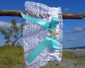 Starfish Beach Wedding Garter,Beach Weddings,Bridal Garter,Blue Garter,Beach Bride,Bridal Garter Aqua Blue,Nautical Wedding,Starfish Wedding