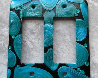 Blue Ovals, double rocker switch plate cover, polymer clay, blue, turquoise, black