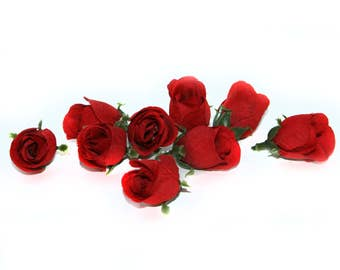 9 Red Rose Buds - Silk Flowers, Artificial Flowers