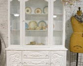 Painted Cottage Chic Shabby White Romantic French China Cabinet CC904