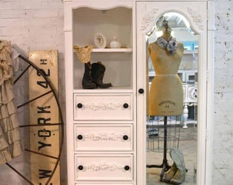 Painted Cottage Chic Shabby Romantic French Armoire / Chest