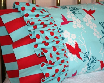 Fanciful Ruffled Hummingbird Pillowcase - Retro Colors, Modern Design - Cheery Bold Polka Dots and Stripes Accents