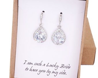 Lelanie - Luxe Cubic Zirconia Teardrop Silver Earrings, gifts for her, Bridal Earrings, Bridesmaid earrings, white silver weddings, jewelry