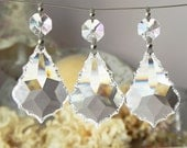 "6 Full Lead Crystal French Pendants Chandelier Lamp Parts 2""L Christmas Wedding Ornaments"