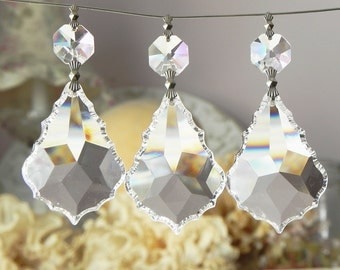 "5 Full Lead Crystal French Pendants Chandelier Lamp Parts 2""L Christmas Wedding Ornaments"