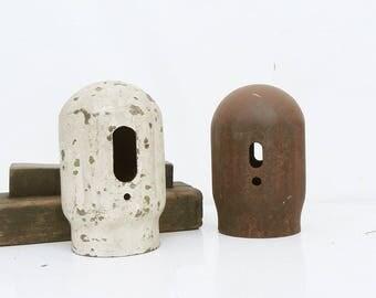 2 Vintage Screw-On Acetylene Oxygen Welding Tank Cap Covers Repurpose lamp parts