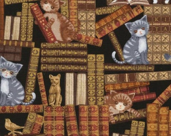 Timeless Treasures Multi Cats In Library Fabric by the yard or cut C5342-MLT