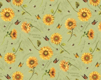 Wilmington Prints - Follow the Sun - Tossed Sunflowers  - Green - Fabric by the Yard 86430-758