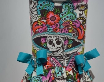 Dog Harness Vest - Day of the Dead - Skull - Mexican
