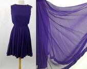 RESERVED 1960s dress silk chiffon purple party cocktail dress full skirt Miss Elliette Size M