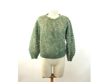 Hand knit mohair sweater green peach lace variegated wool Size L