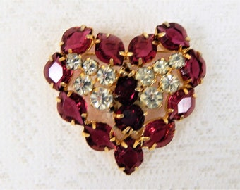 Vintage Rhinestone Heart Brooch, Signed Austria, Red and Clear Stones  Free Ship in USA