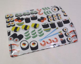 Car Registration Holder - Auto ID Wallet - Car Organizer - Sleeve Style -Womens Wallet - Sushi Wallet