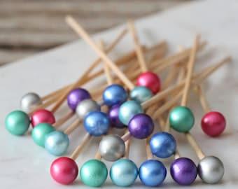 Jewel Tone Lollipop Sticks, Easter Cake Pops Sticks, Rock Candy Sticks, Unicorn Party Cake Pop Sticks, Dessert Skewers, Candy Kabob Sticks