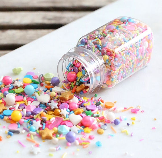 Sprinklefetti unicorn sprinkles mix edible sprinkles for Decorating quins