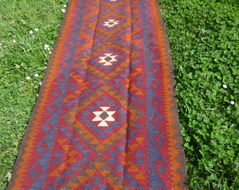 "Extra Long 15 ft Runner Maimana kilim/rug/carpet. Natural Wool. Handwoven. 15 ft  6"" x 2 ft 8. 473 x 81 cm."