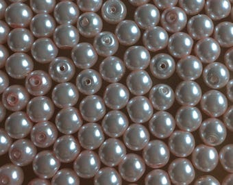 30 x 8mm light pink glass pearl beads
