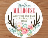 Floral Antlers - Custom Address Labels or Stickers