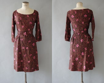 Jane dress | Brown rayon floral dress with scoop neckline | 1950's by cubevintage | small to medium