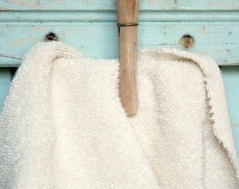 Holiday SALE Organic Terry Cloth Fabric Fat Quarter - Natural Creamy Cotton Terrycloth Towel Made in the US