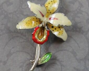 Vintage Yellow and Orange Enamel Silver Flower Brooch