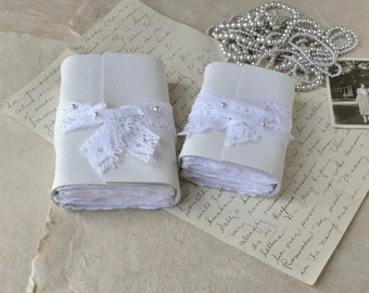 White Leather Book Pair - Leather and Lace Journals