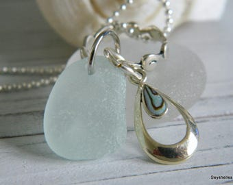 Sterling Sea Abalone Charm, Sea Glass, Sterling Silver Wavy Sterling Ring Beach Necklace