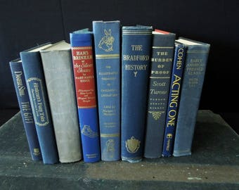 Books by the Foot - Blue Books for Decor - Decorative Old Books - Wedding Centerpiece