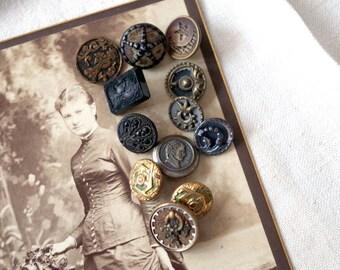 Antique Victorian BUTTON Lot Steel Cut Perfume Black Glass Portrait Flowers and Leaves - Antique Metal Waistcoat Buttons