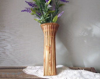Vintage Hanging Bamboo Flower Container Basket Holder