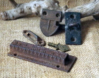 Antique Iron Metal Lock Parts Found in the Barn - Antique Lock Parts Latch Hasps Loops Lot of 5