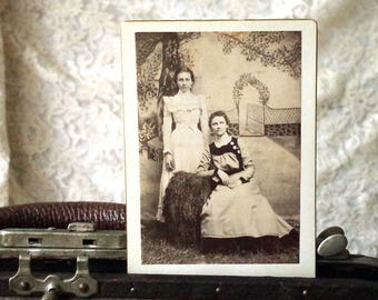Cabinet Card Antique Photo Two Sisters - Ready For Marriage - 1800s Photo of creepy women