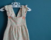 Vintage Girl's Pale Pink Corduroy Overalls with Flower Print - Size 2T