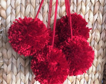 Red Pom Poms, Extra Large Set of 5