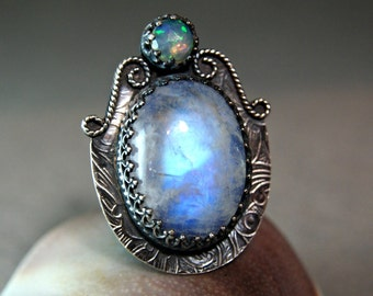 Rainbow Moonstone Statement Ring, Natural Fire Opal Jewelry, Gypsy Moonstone Ring