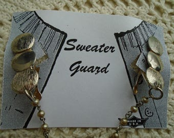 Sweater Clips  Sweater Guard  Gold Tone  Single Faux Pearl Chain Alligator Clips FREE SHIPPING