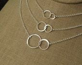 Linked circles necklace in sterling silver, connected circles, interlocking rings, eternity necklace, two circles, valentine day, valentines