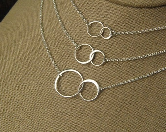 Linked circles necklace in sterling silver, connected circles, interlocking rings, eternity necklace, two circles, mother's day