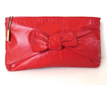 Vintage Letisse Cherry Red Leather Bow Clutch