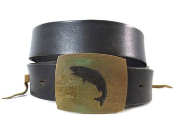 Vintage Tex Tan Fish Brass Buckle Harness Leather Belt // Size 36