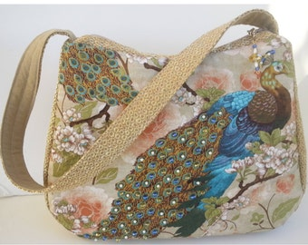 Unique Purses / Vegan Handbag/Gift for Women / Peacock lover gift / Bird watcher gift / Animal Lover gift /gift for mother, Item #CJF79-1012